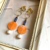 【グッズ】 大粒オーバルビーズのイヤリング フレッシュオレンジ